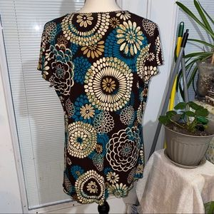Perceptions Tops - Perceptions Size 2x brown, cream and turquoise top